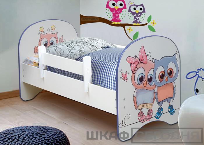 Детская кровать с фотопечатью Совята
