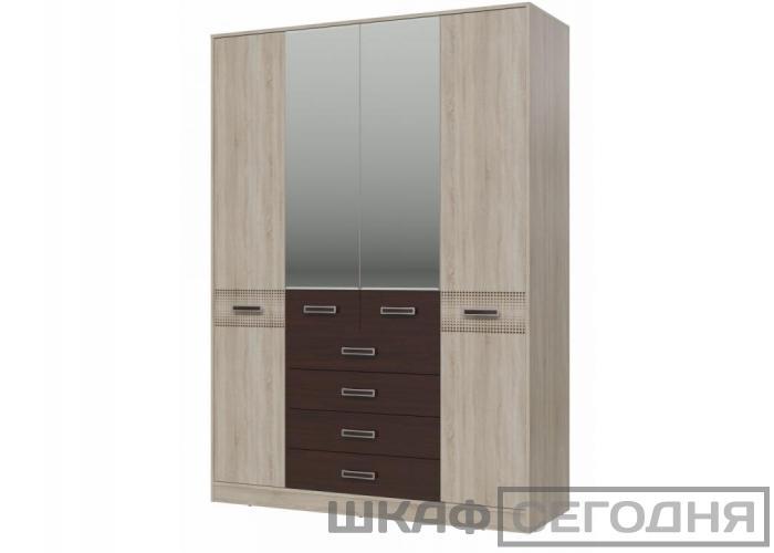 Шкаф 4-х дверный с ящиками Румба
