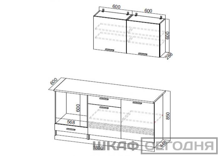 Кухонный гарнитур SV-Мебель Джаз 1,8 м