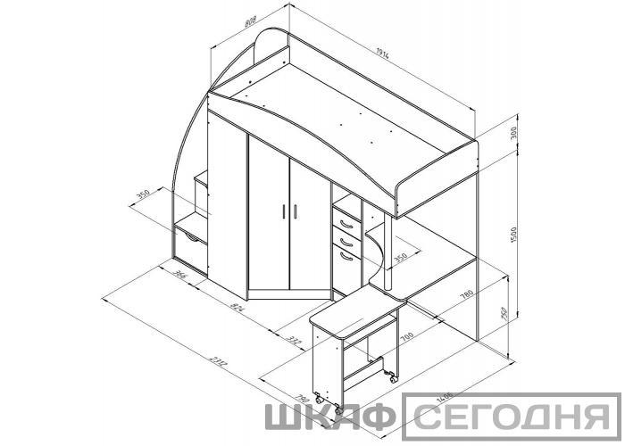 Кровать Формула Мебели Теремок-1 Гранд