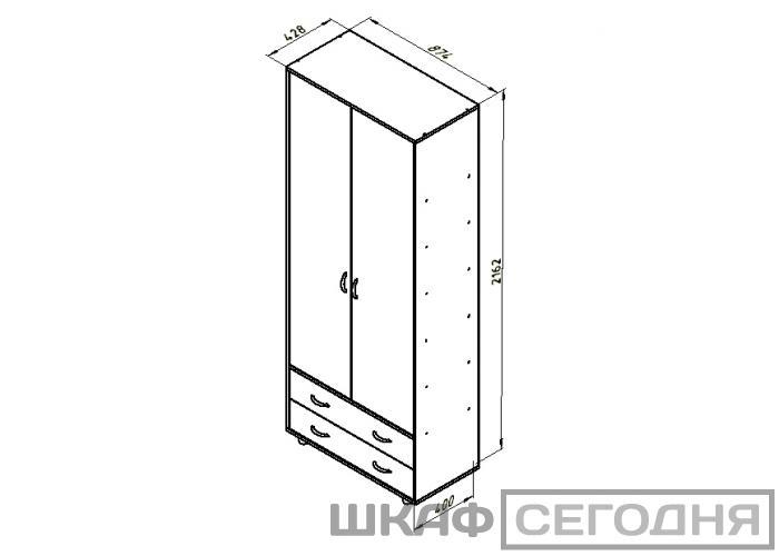Шкаф для одежды Формула Мебели Дельта-4