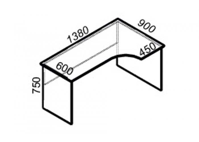 Офисный стол ЛОББИ Стандарт СМ-103 правый